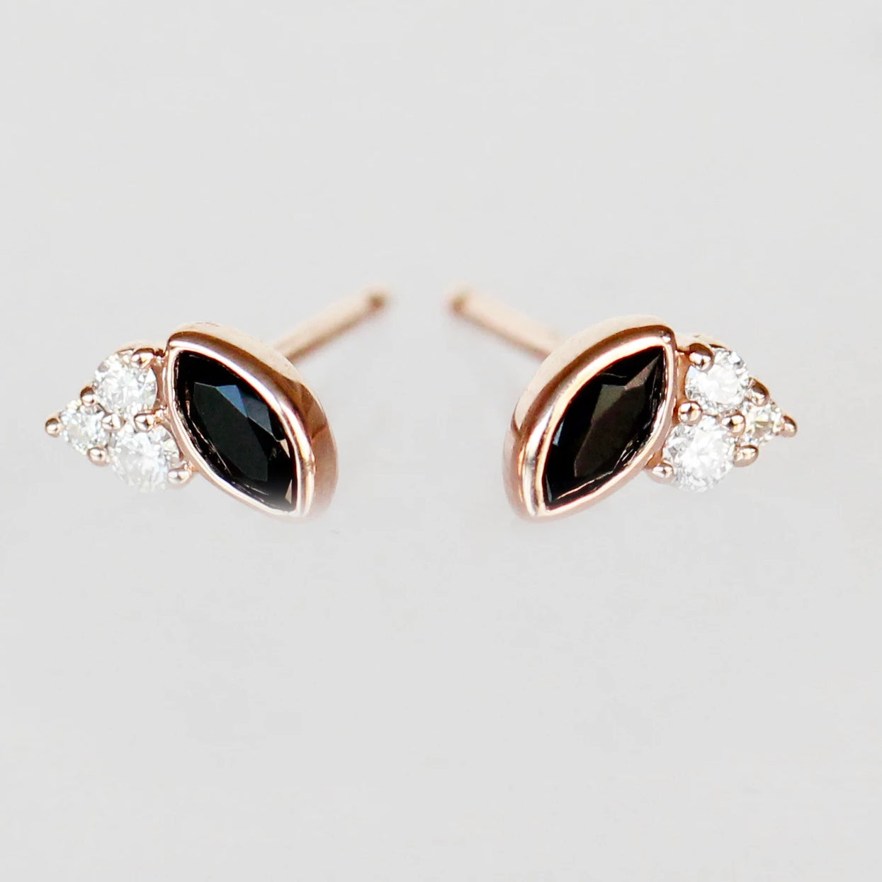 Jolean Earrings with Onyx + Diamonds - 14k Rose Gold- Ready to Ship - Celestial Diamonds ® by Midwinter Co.
