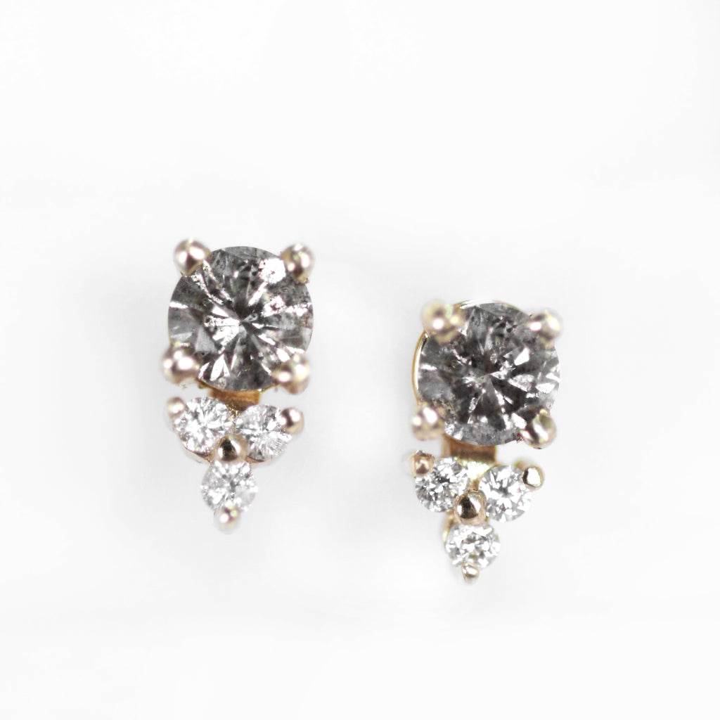 Gray Diamond Earrings 14k Yellow Gold Studs with Celestial and Trio of 1.1mm Diamond Accent - One of a kind, ready to ship