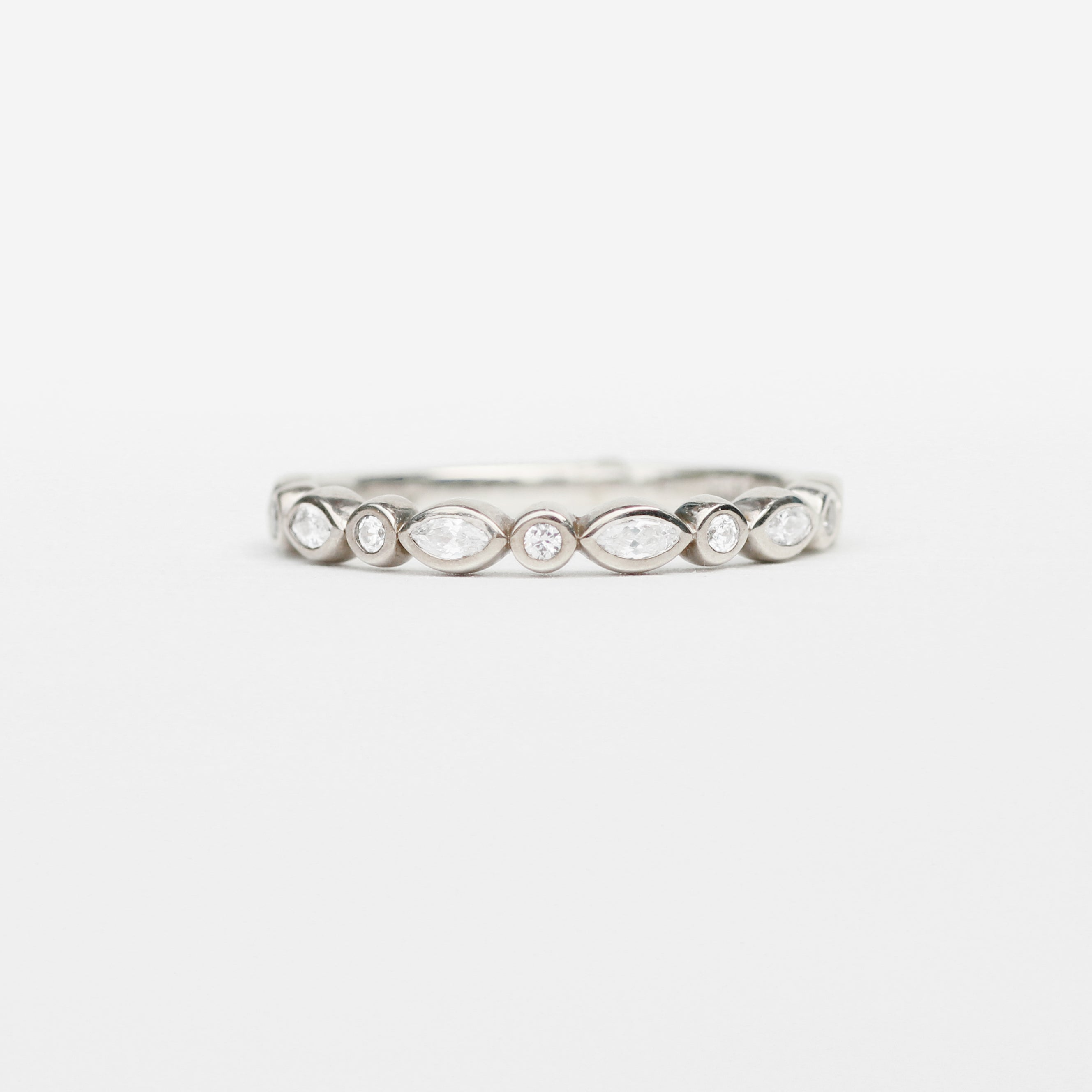 Ellyot band - diamonds in marquise and round cuts, bezel set - Your choice of metal - Celestial Diamonds ® by Midwinter Co.