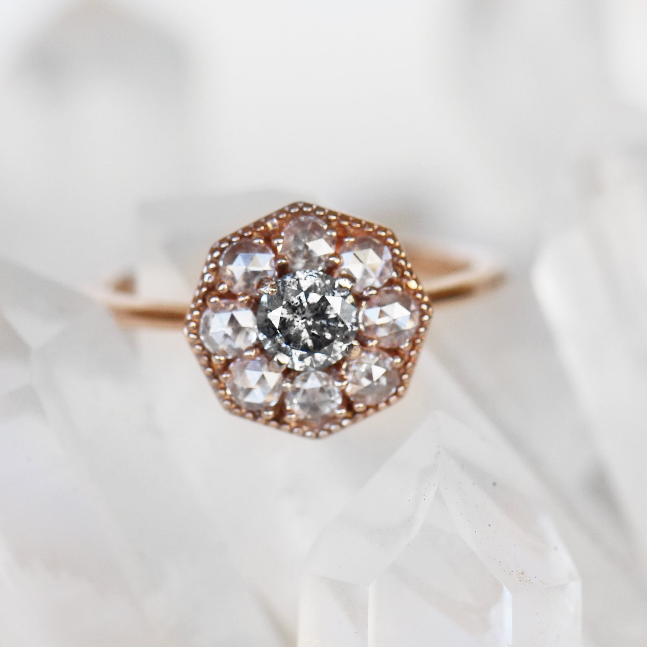 Ethel Ring with a Celestial Diamond in Your Choice of 14k Gold - Made to Order - Salt & Pepper Celestial Diamond Engagement Rings and Wedding Bands  by Midwinter Co.
