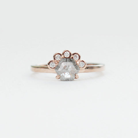Evegwen with misty hexagon diamond in 10k rose gold - ready to size and ship