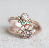 Jules - Emerald and White Diamond Ring - Half Halo Asymmetrical - Ready to size and ship