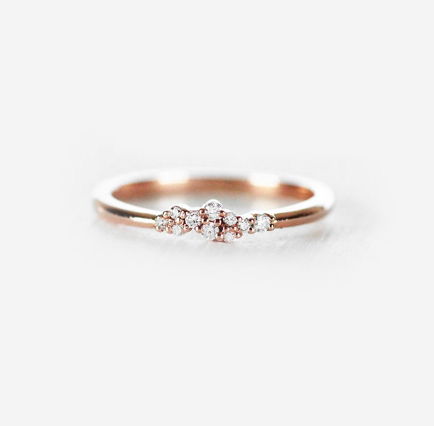 Fiona Cluster Style Ring - Diamond Stackable Band in 10k Rose or Yellow - Ready to Size and Ship - Celestial Diamonds ® by Midwinter Co.