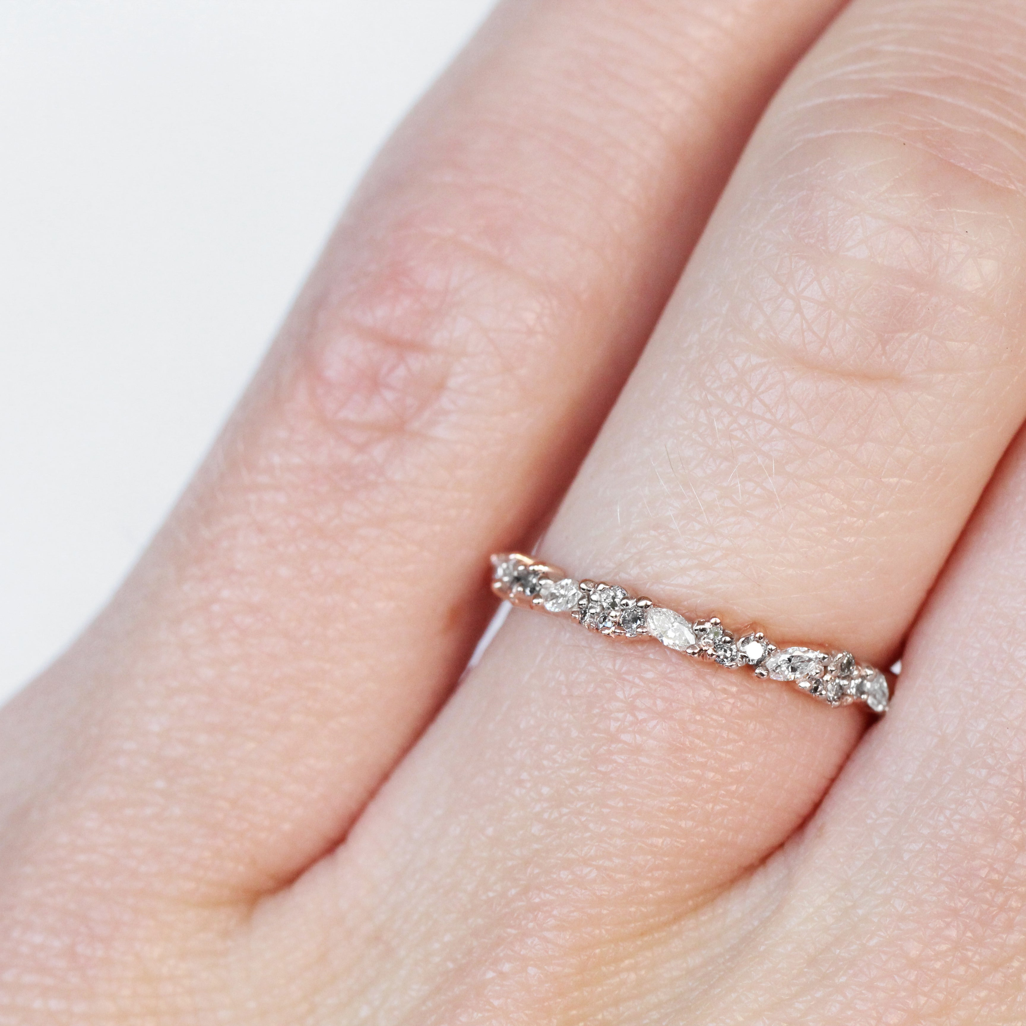 Gennie Diamond Engagement Ring Band - White + Gray Diamonds - Celestial Diamonds ® by Midwinter Co.