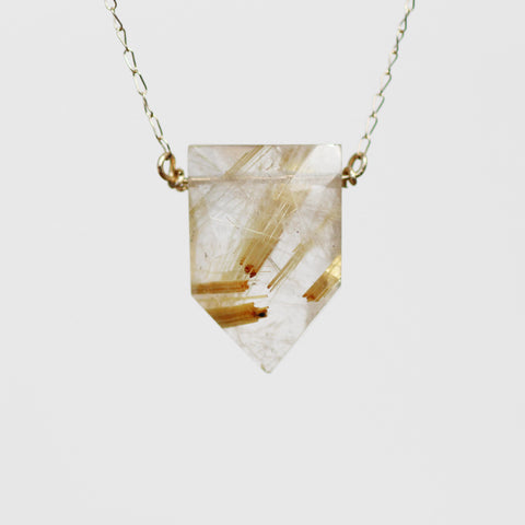 Pick Your Gold Quartz - Golden Rutilated Quartz Point Necklace in 14k yellow gold