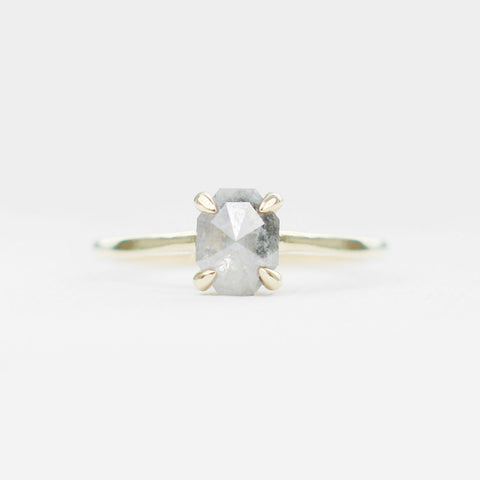 Elle with a misty gray octagon diamond in 10k yellow gold - ready to size and ship