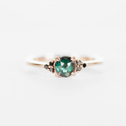 Imogene with Sea Green Blue Diamond and Black Diamonds in 10k Rose Gold - Ready to size and ship