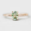 Carly Ring with a Moss Sea Green Blue Sapphire in 10k Rose Gold - Ready to Size and Ship