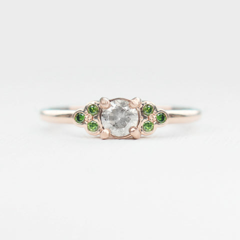 Reese - Diamond and Green Diamond Gray Celestial Ring - Ready to size and ship