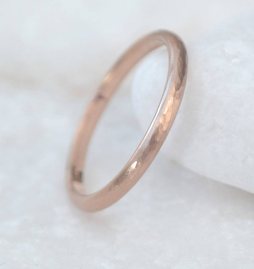 Hammered 14k Gold Wedding Band 1.5mm 2mm 2.5mm 3mm - Unisex - Celestial Diamonds ® by Midwinter Co.