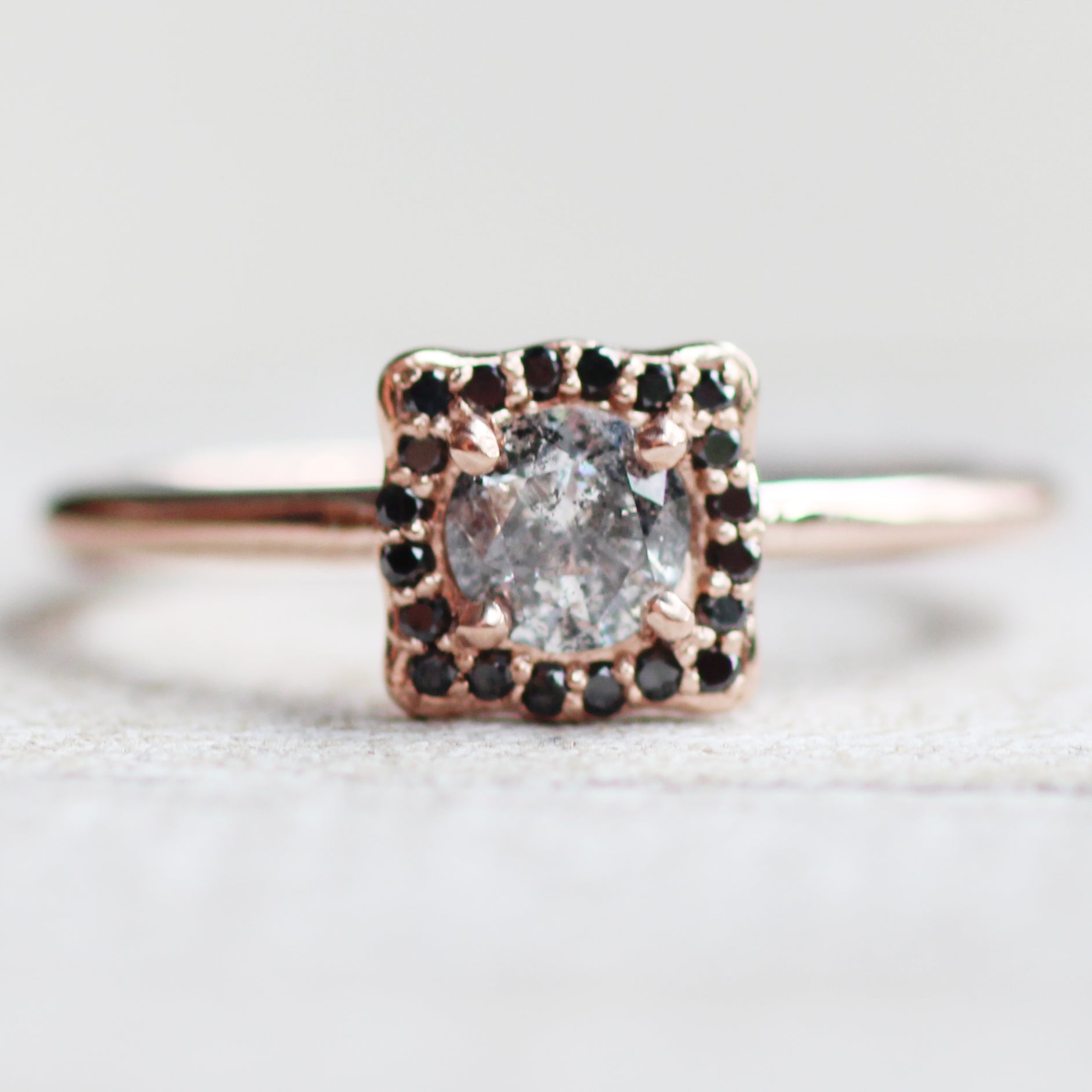Hannah - Black diamond halo with dark gray celestial diamond - 10k rose gold - Ready to size and ship