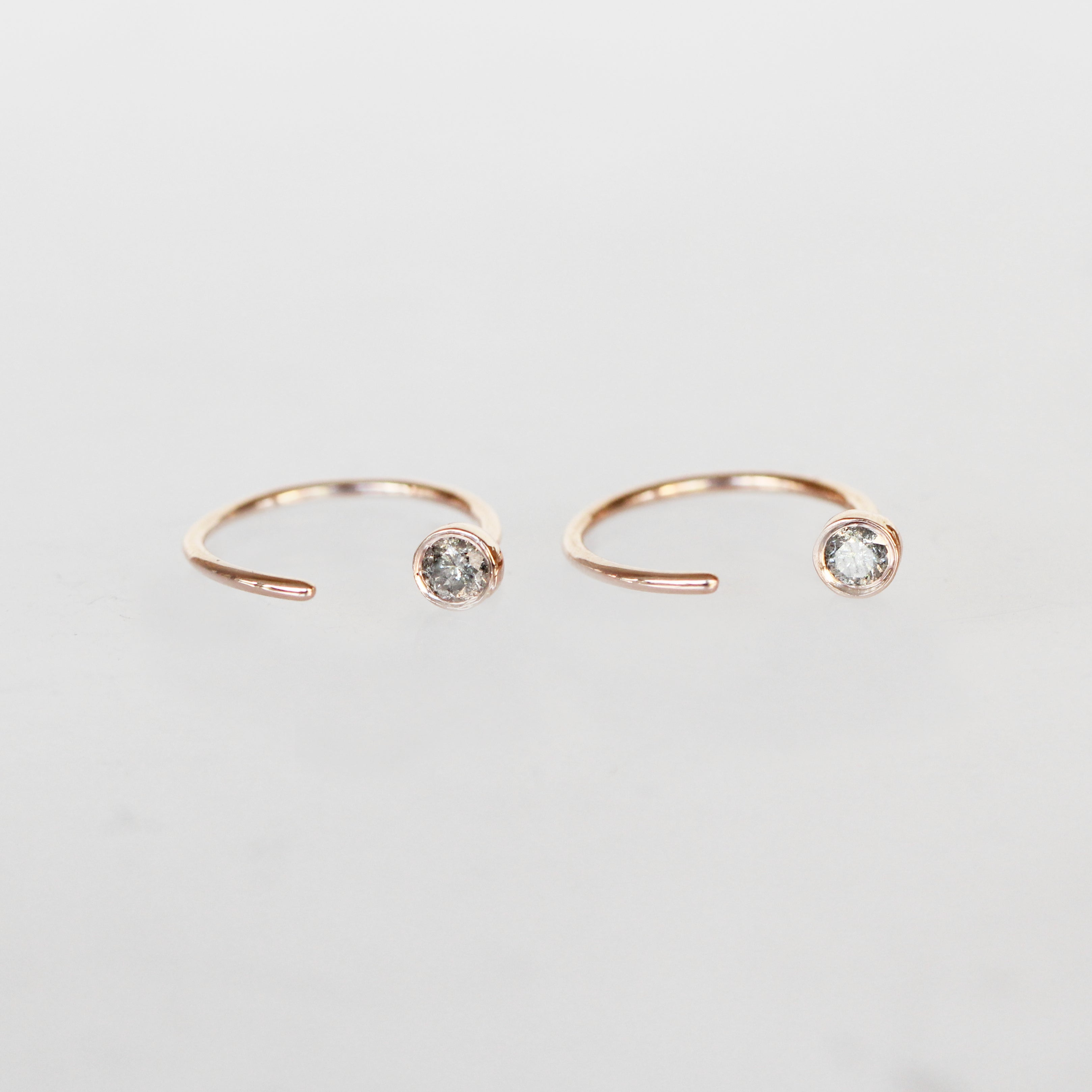 Harper Earrings with Gray Celestial Diamonds ® -14k Rose Gold- Ready to ship - Celestial Diamonds ® by Midwinter Co.