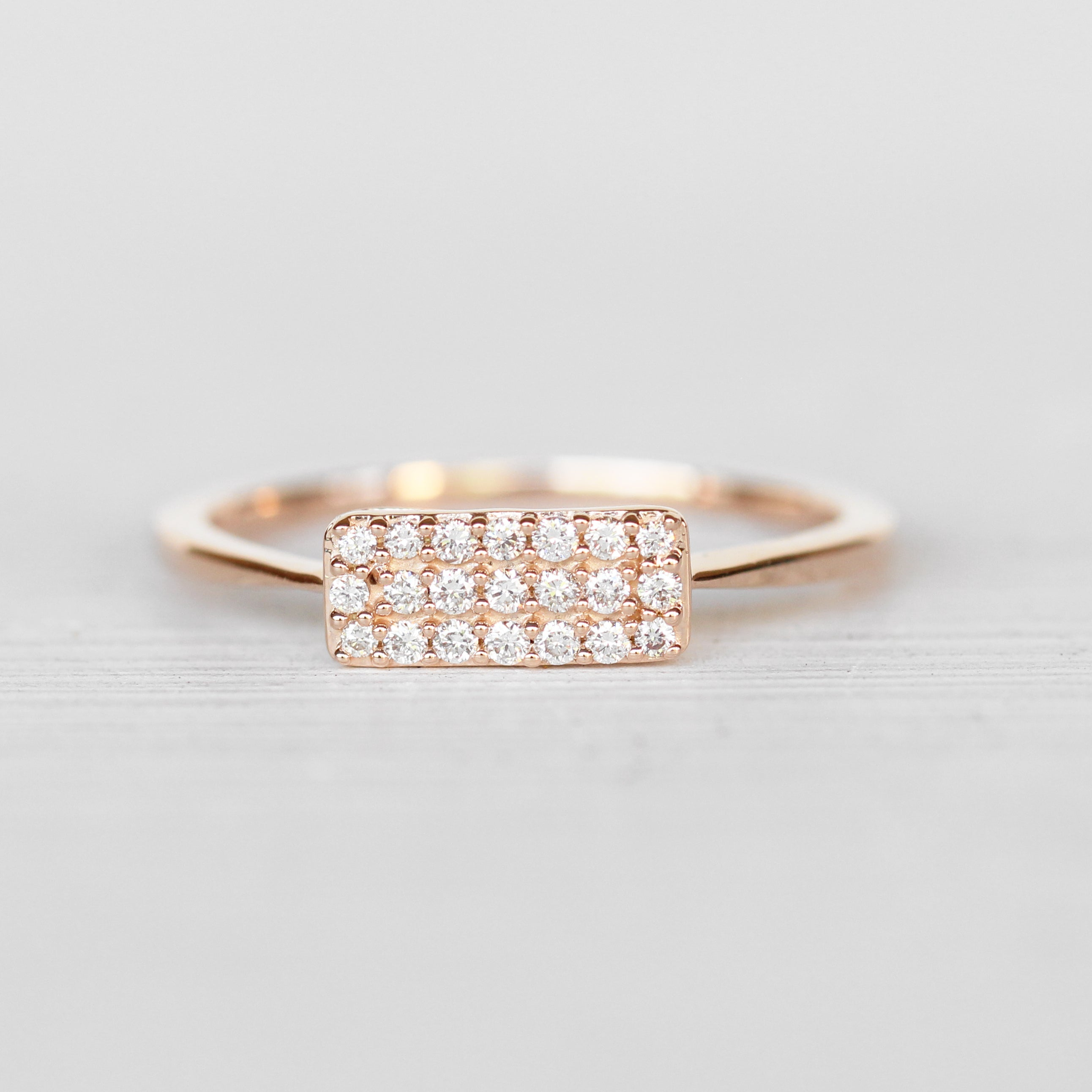 Heather Rectangular Shaped Stacking Diamond Ring in 14k Rose Gold - Ready to Size and Ship - Celestial Diamonds ® by Midwinter Co.