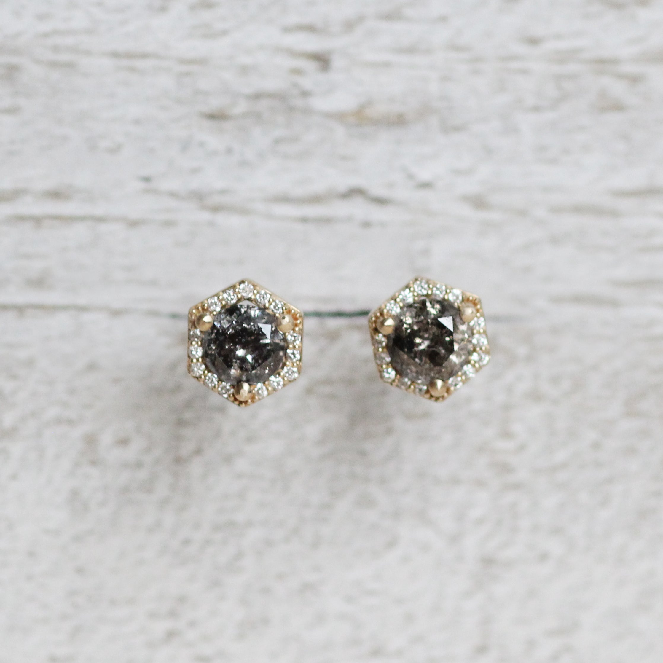 1 Carat Hexagon Halo Earring Stud Pair in 14k Yellow Gold - One of a kind, ready to ship