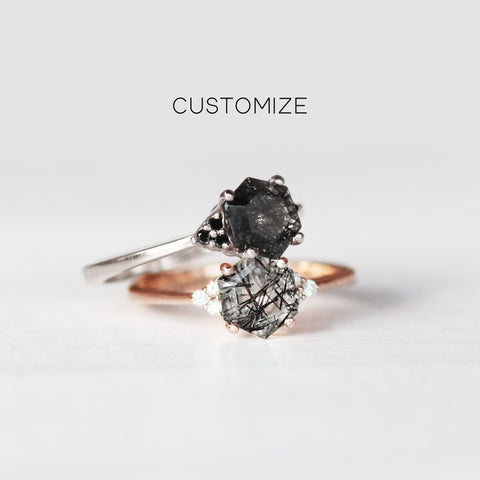 Customize yours - Imogene and 6.5mm Hexagon Tourmalinated Rutilated Quartz - Ring