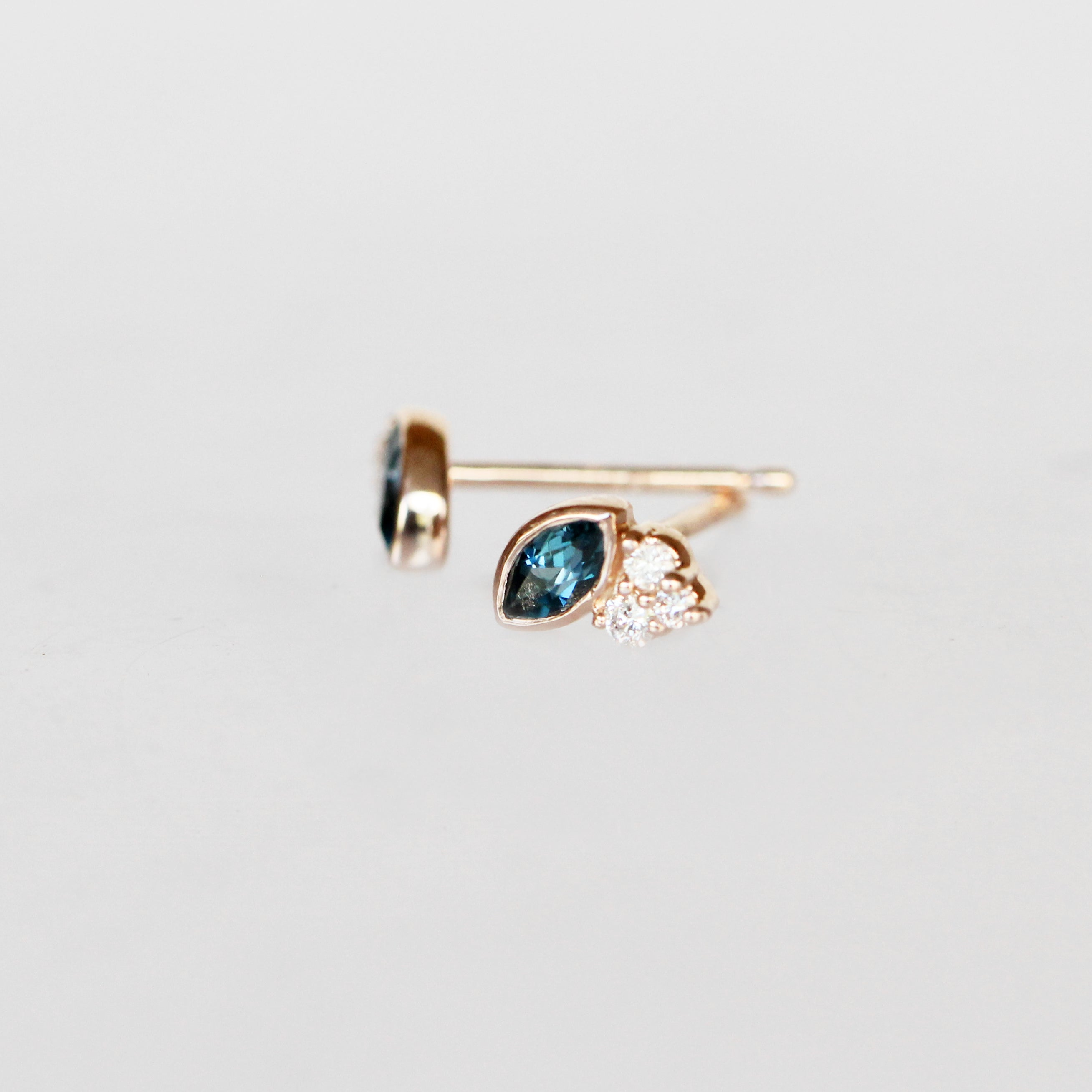 Jolean Earrings with London Blue Topaz + Diamonds - 14k Rose Gold- Ready to Ship - Salt & Pepper Celestial Diamond Engagement Rings and Wedding Bands  by Midwinter Co.