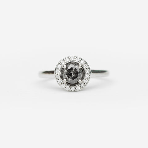 Honor with Celestial Gray Round Brilliant Diamond in 14k White Gold - Ready to size and ship