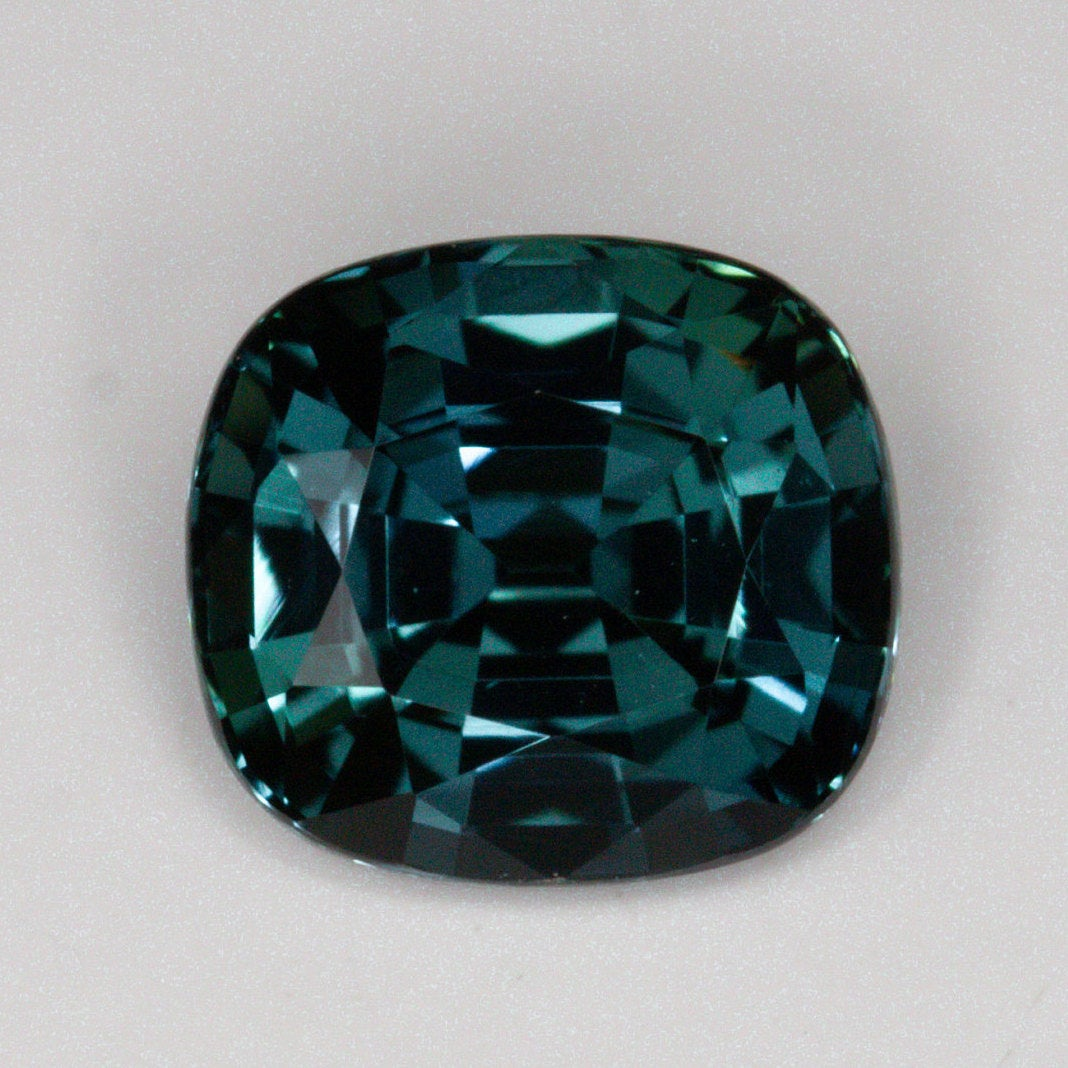 .94 carat cushion cut dark teal blue green sapphire - custom work - inventory code DGSC94 - Salt & Pepper Celestial Diamond Engagement Rings and Wedding Bands  by Midwinter Co.