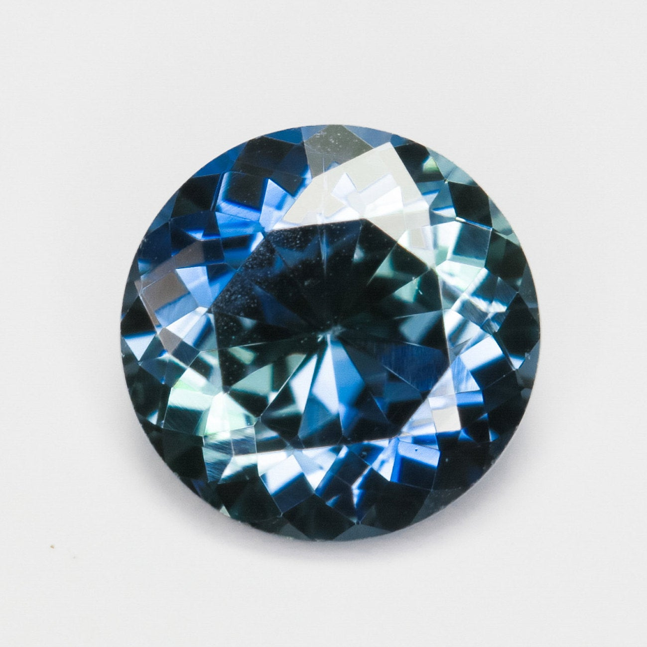 .52 carat round blue teal sapphire - custom work - inventory code: DBSR52 - Salt & Pepper Celestial Diamond Engagement Rings and Wedding Bands  by Midwinter Co.