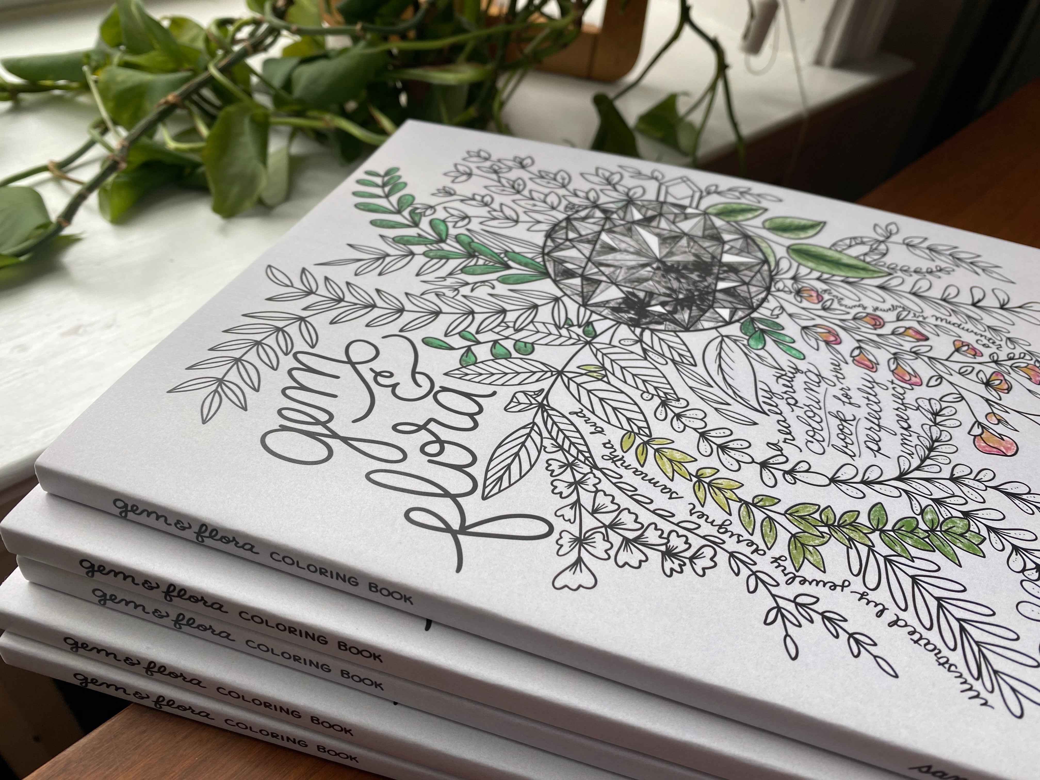 Gem & Flora Coloring Book - Illustrated by Samantha Bird of Midwinter Co. - Salt & Pepper Celestial Diamond Engagement Rings and Wedding Bands  by Midwinter Co.