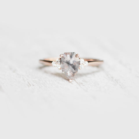 Imogene with geometric pear rose cut diamond - ready to size and ship