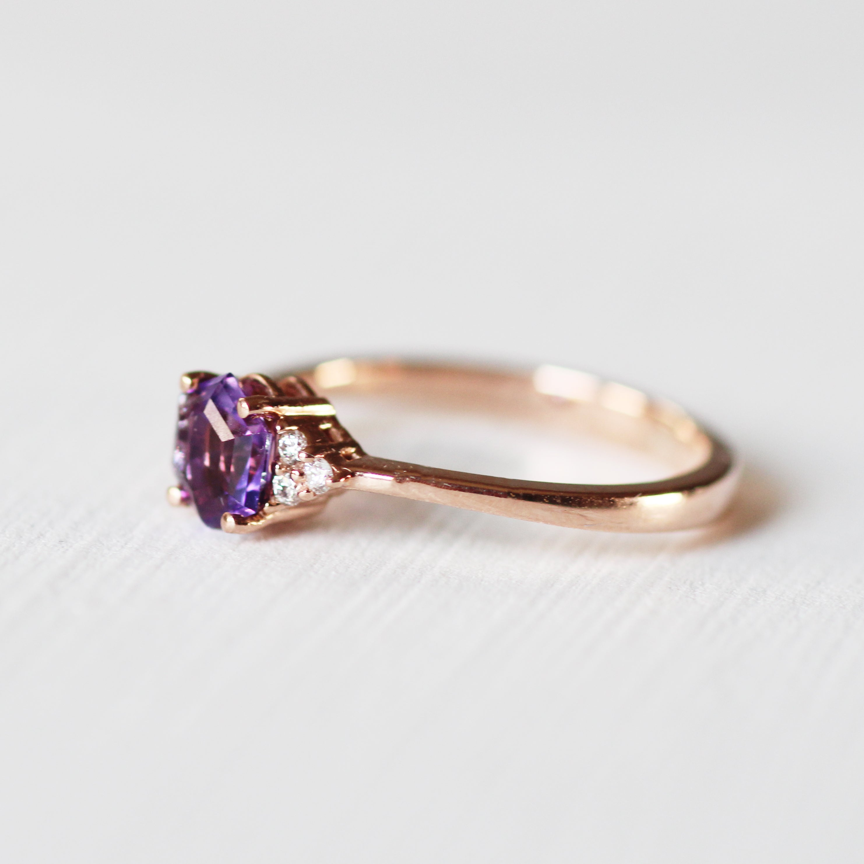 Imogene with natural Amethyst with natural diamonds in 14k rose gold - Midwinter Co. Alternative Bridal Rings and Modern Fine Jewelry