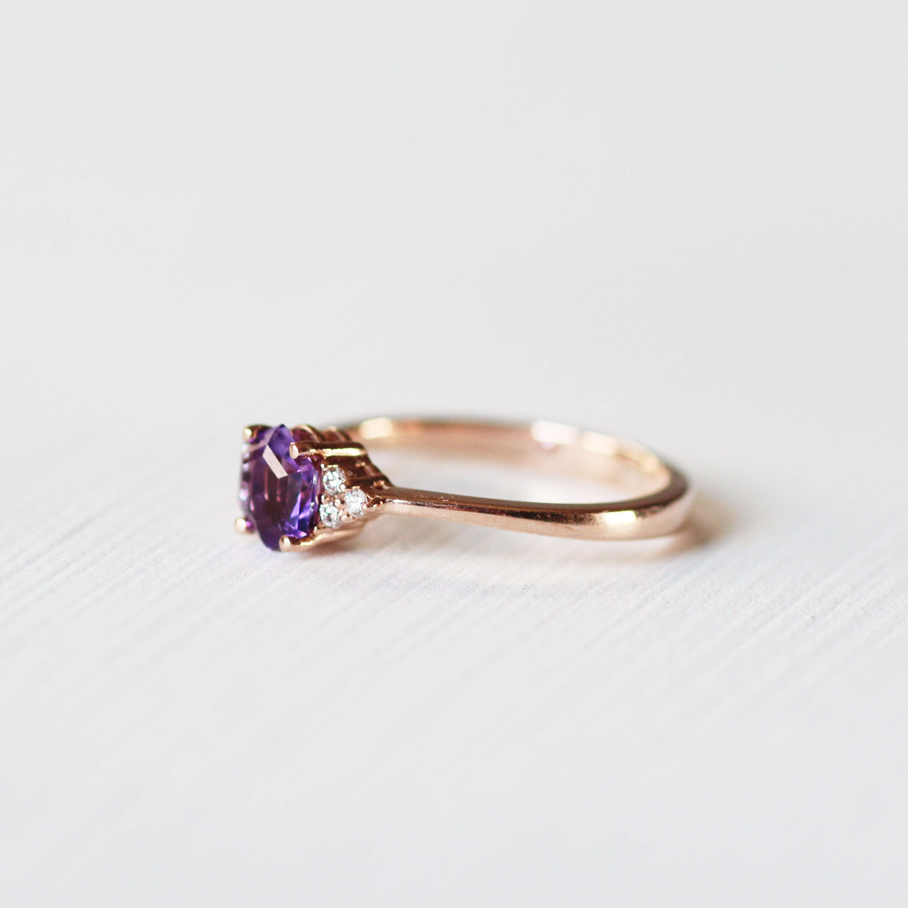 Imogene with natural Amethyst with natural diamonds in 14k rose gold