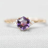Imogene with natural Amethyst with natural diamonds in 14k rose gold - Celestial Diamonds ® by Midwinter Co.