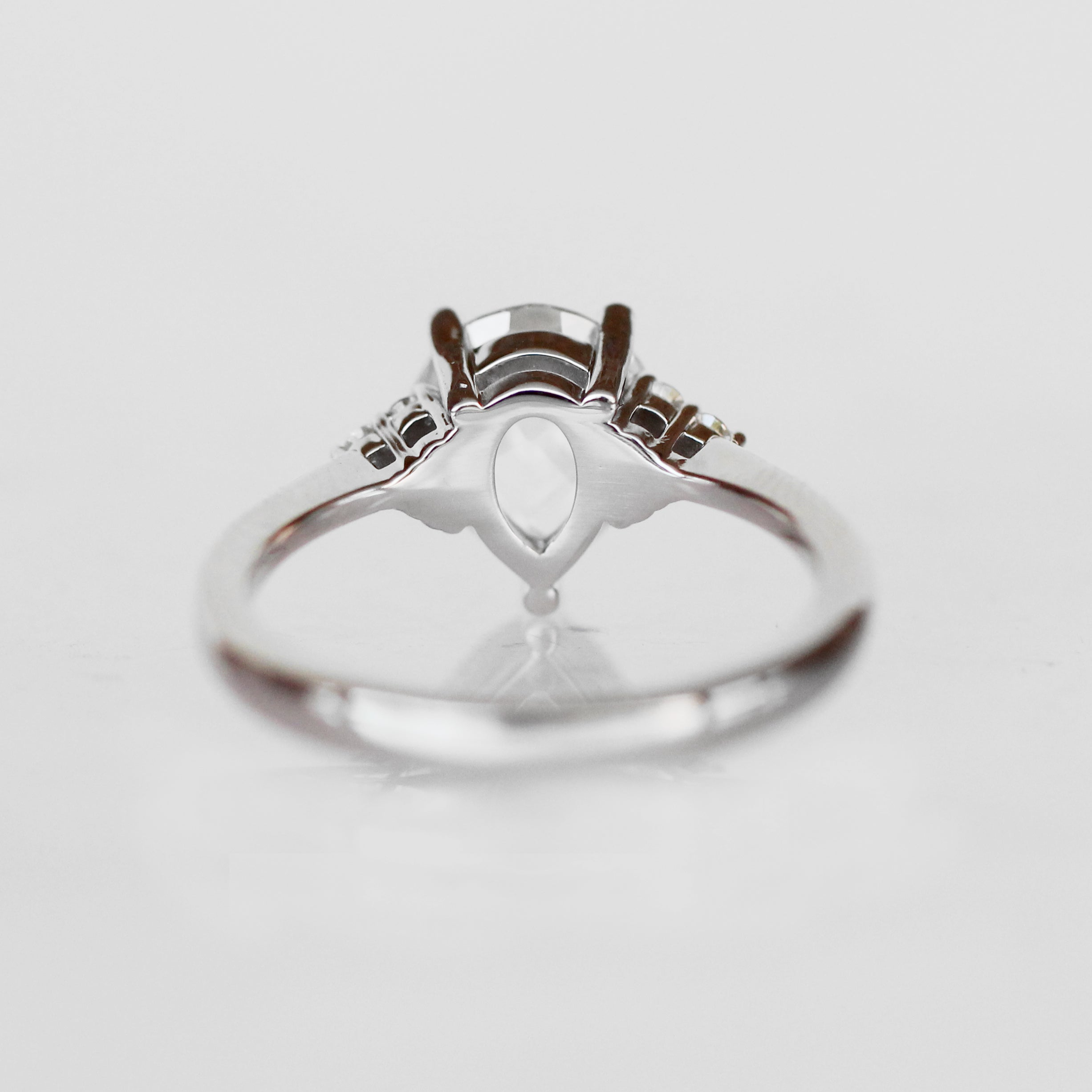Imogene Ring with a Rose Cut Pear Moissanite in 14k White Gold - Ready to Size and Ship - Celestial Diamonds ® by Midwinter Co.