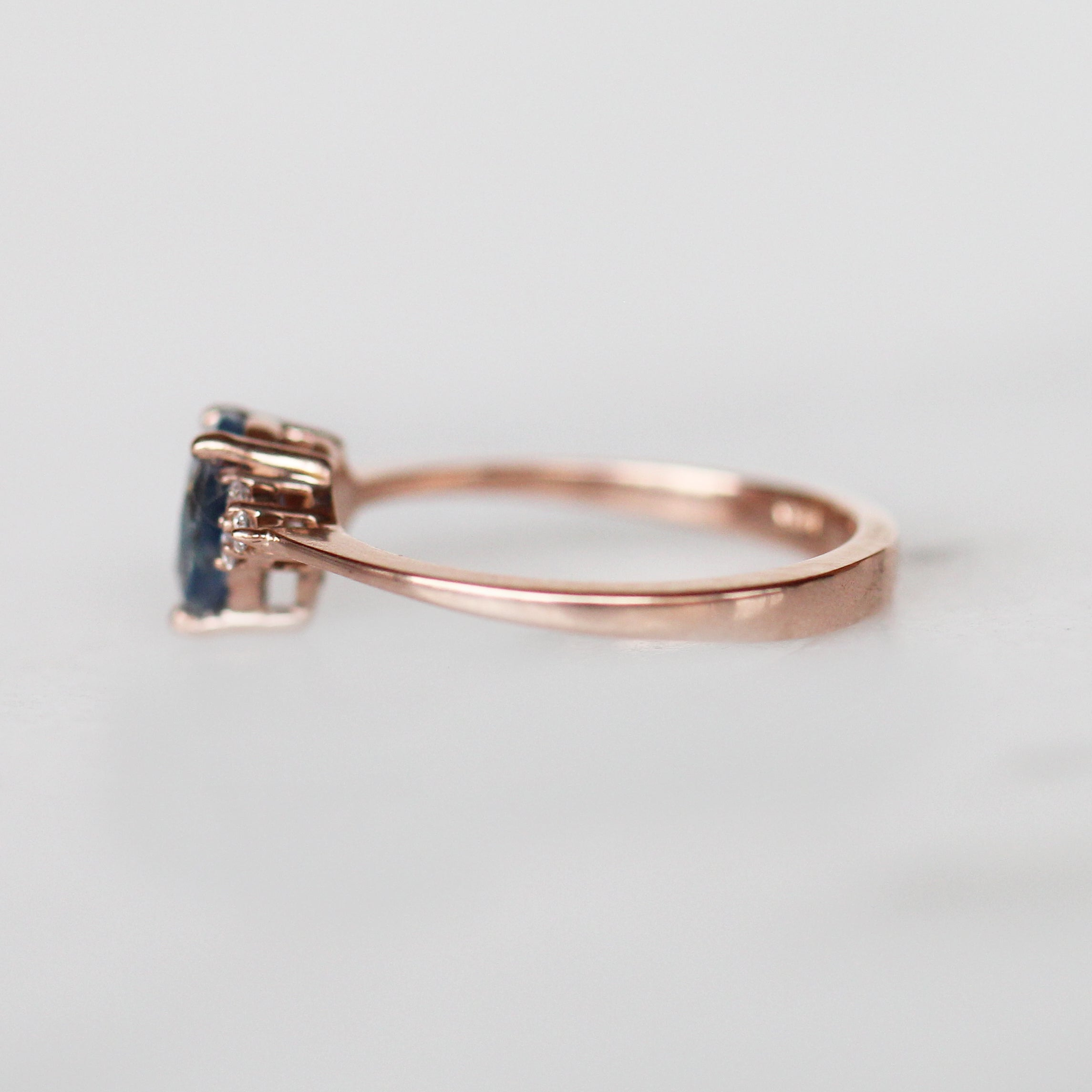 Imogene Ring with .79ct Pear Opalescent Sapphire In 14k Rose Gold- Ready to Size and Ship - Celestial Diamonds ® by Midwinter Co.