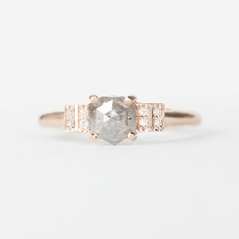 Isadora Ring with a Misty Celestial Diamond and Diamond Accents - ready to size and ship