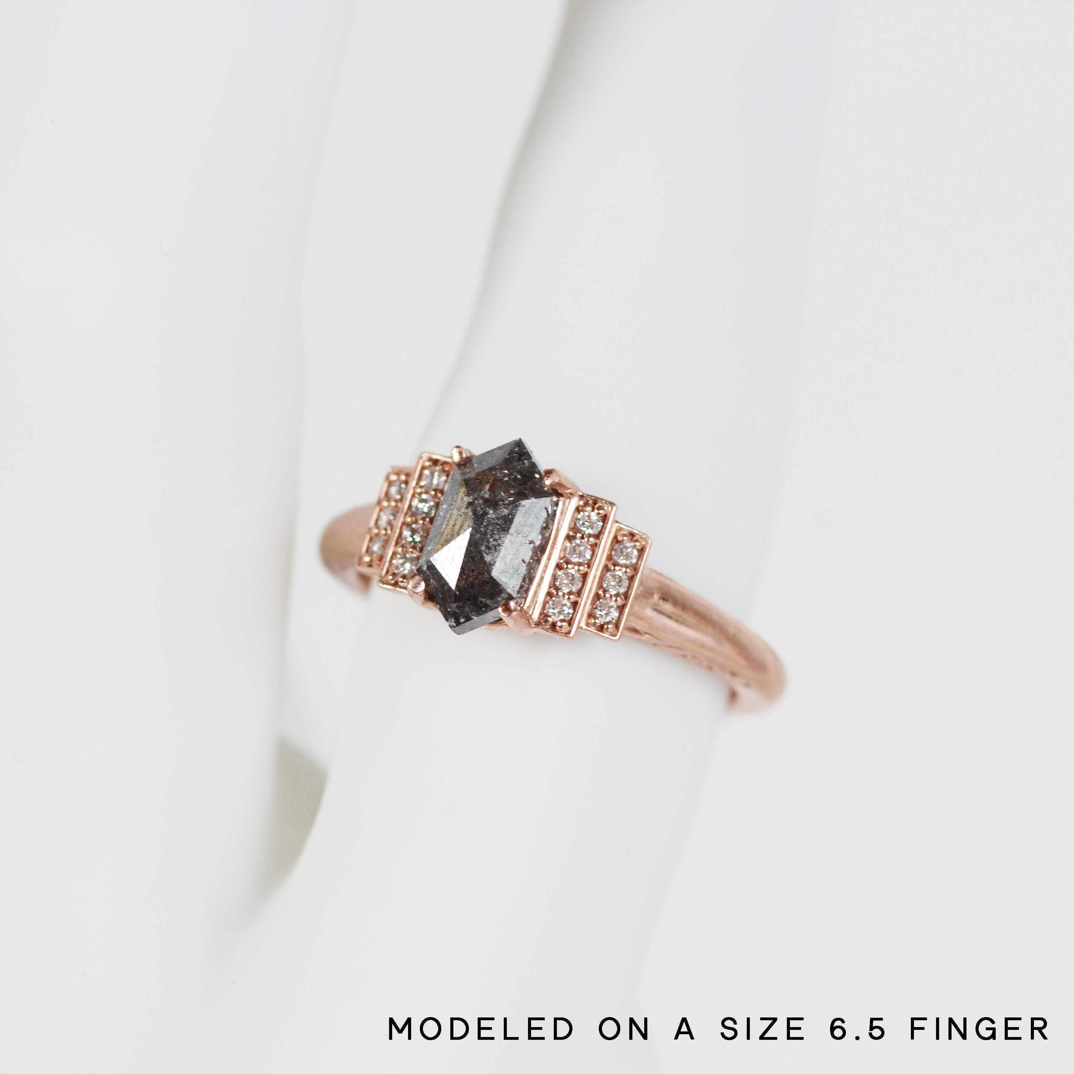 Isadora Ring with a Dark Celestial Hexagon Diamond and Diamond Accents - Ready to Size and Ship