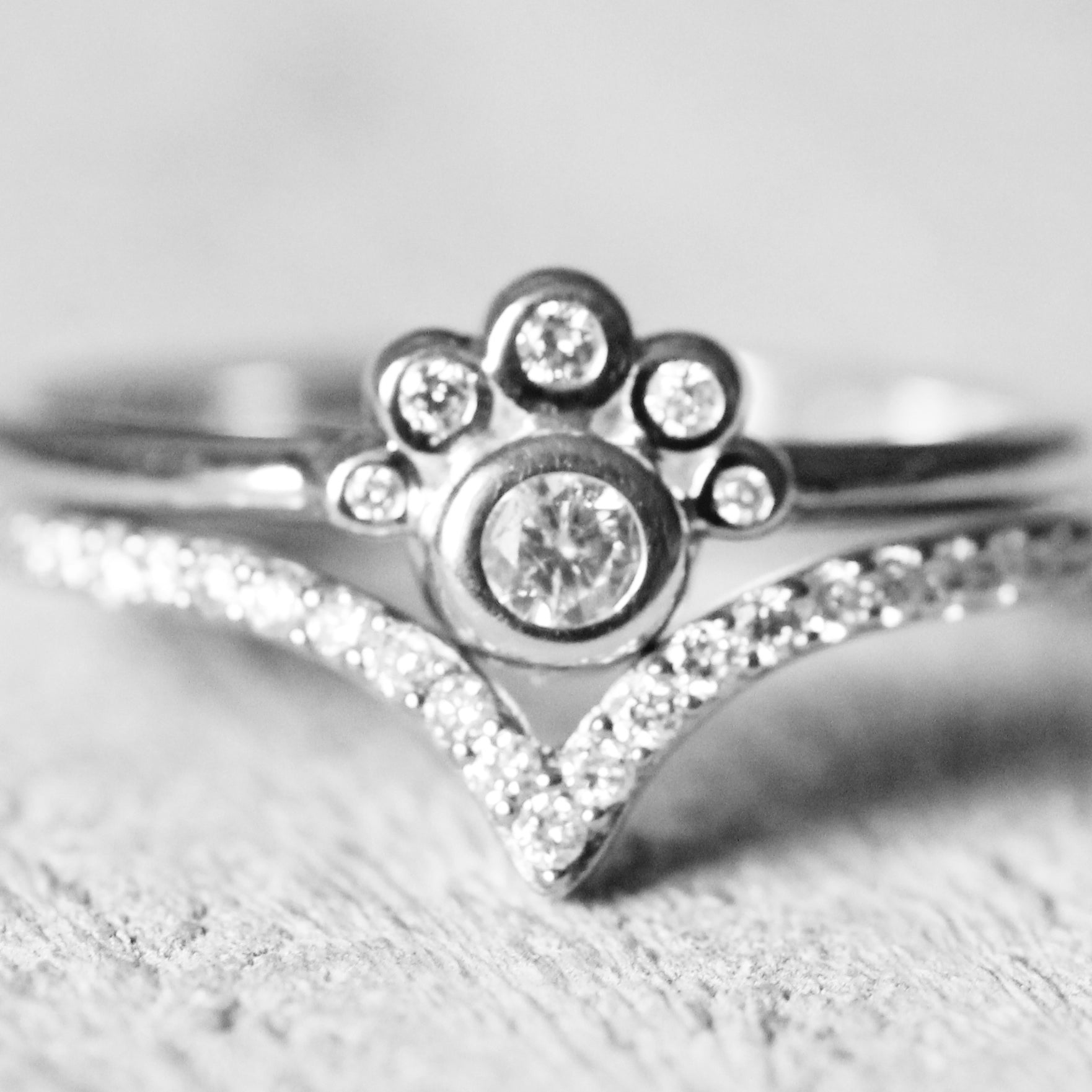 Jules ring with white diamonds in 10k white gold - ready to size and ship - Celestial Diamonds ® by Midwinter Co.