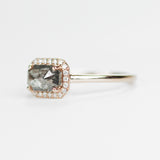 Kait - Black, Clear Celestial Diamond in a Diamond Halo in 14k rose gold - ready to size and ship