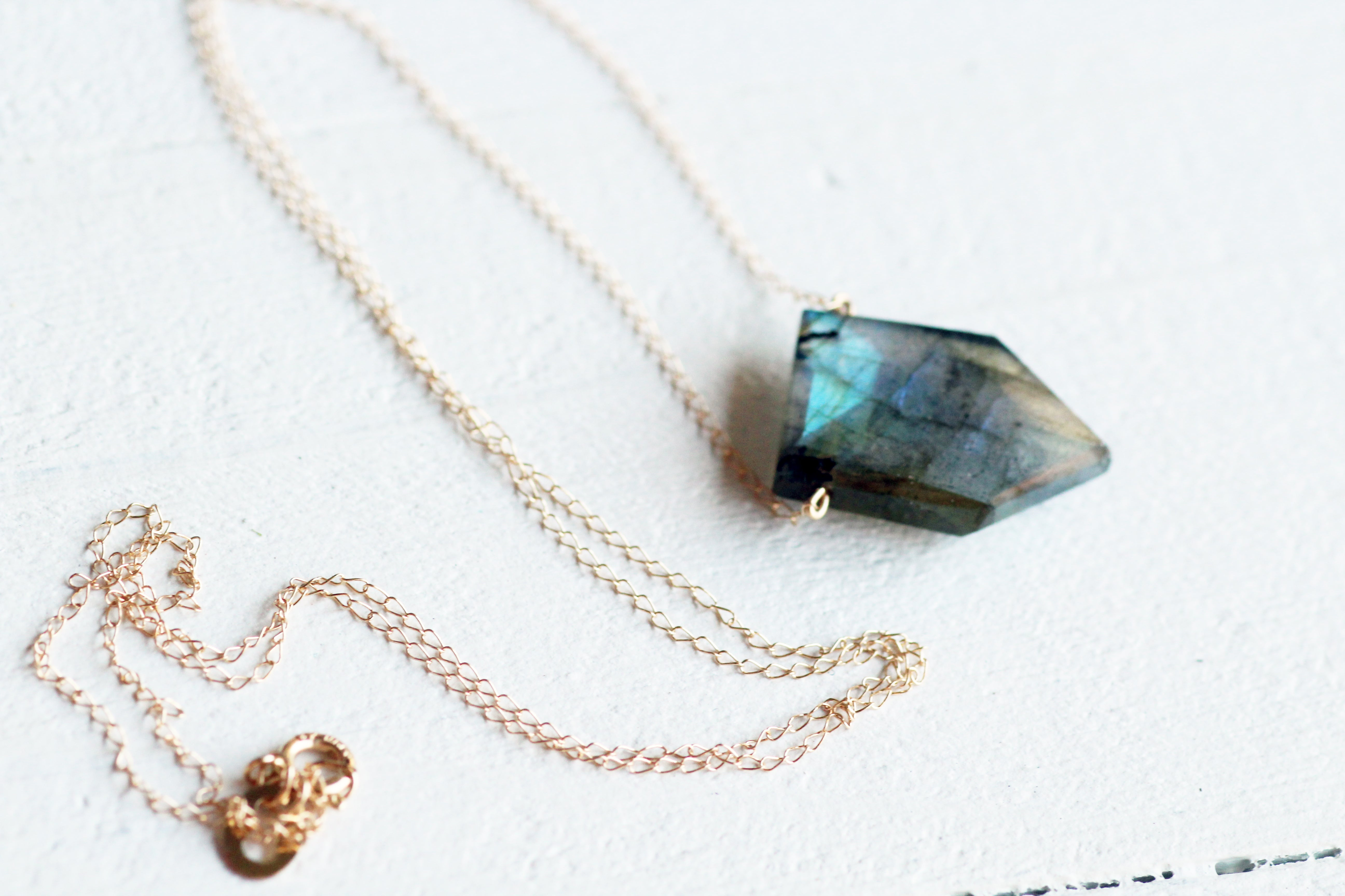 Labradorite Blue Shimmer Point Gemstone Necklace 14k gold