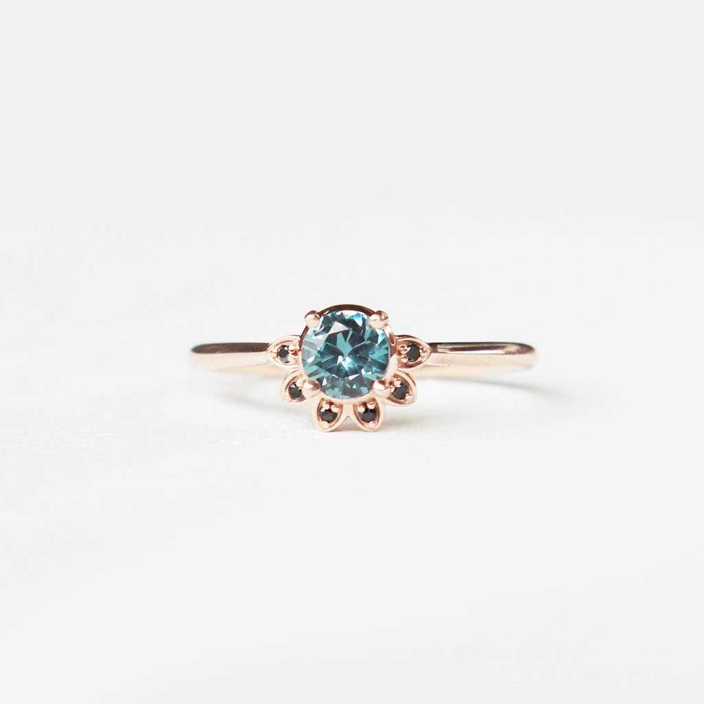 Caren - London Blue Topaz and black diamonds in 10k rose gold half halo - ready to size and ship