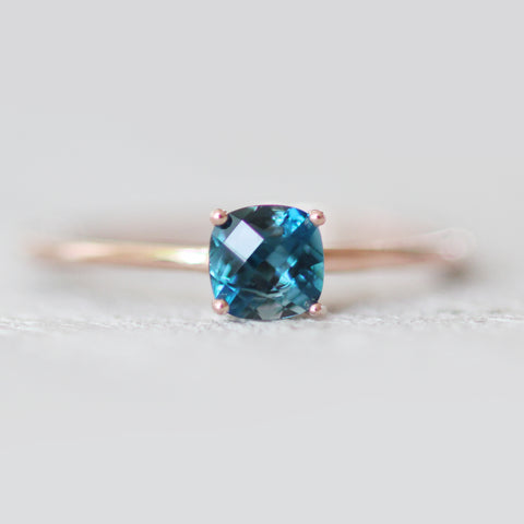 London Blue Topaz .75 carat Cushion Cut - Your choice of metal - Custom