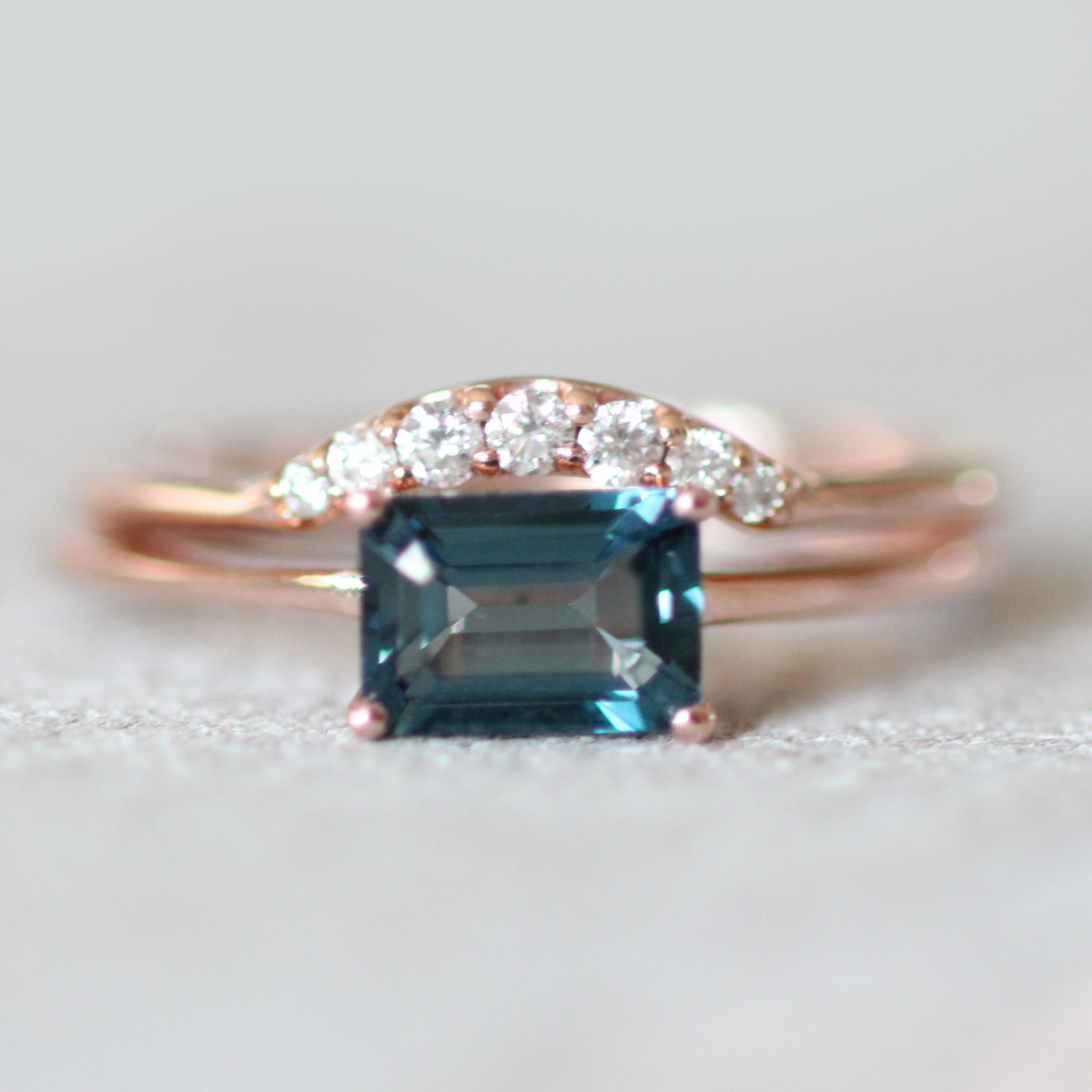 London Blue Topaz 1.3 carat Emerald Cut - Your choice of metal - Custom - Salt & Pepper Celestial Diamond Engagement Rings and Wedding Bands  by Midwinter Co.