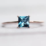 London Blue Topaz .83 carat 5mm Princess Square Cut Ring - Your choice of metal - Custom