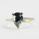 Loren with Deep Champagne and Black Pear Ring in 14k Yellow Gold - Ready to size and ship