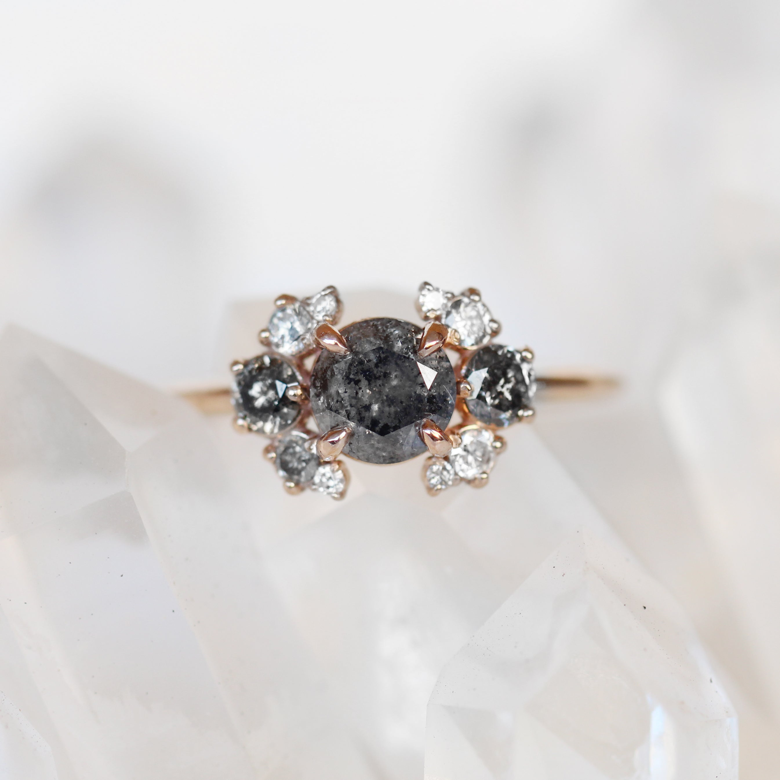 Eira - Diamond Cluster Ring in 10k Rose Gold - Ready to size and ship - Celestial Diamonds ® by Midwinter Co.