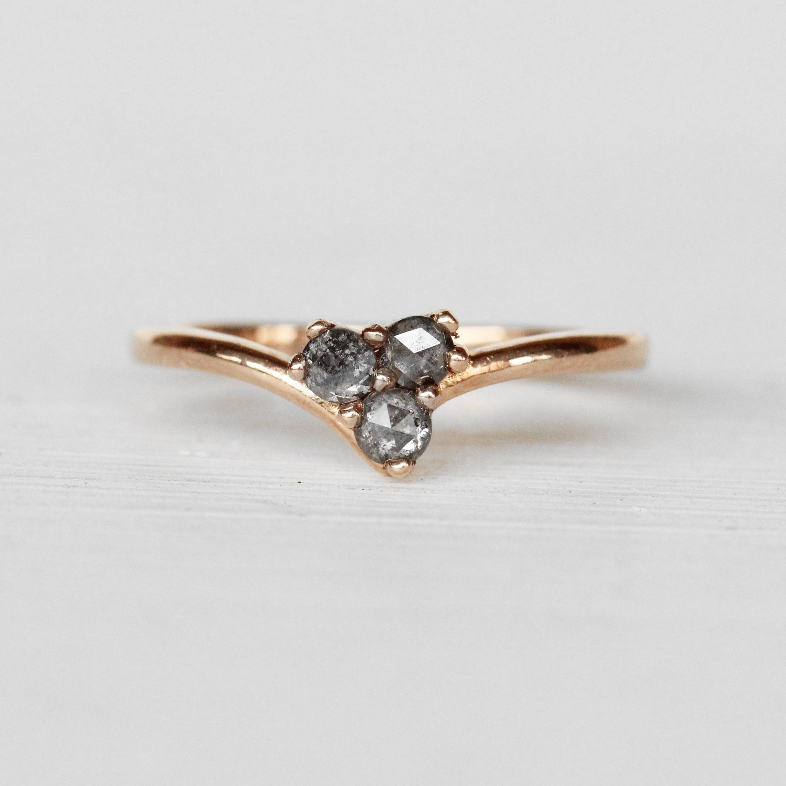 Madelyn Ring - Trio of Rose Cut Diamonds - Gold of choice - Midwinter Co. Alternative Bridal Rings and Modern Fine Jewelry