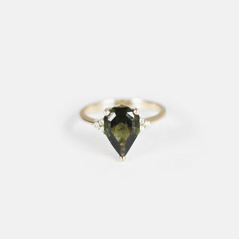 Imogene - Moldavite with diamonds in 14k yellow gold - Ready to size and ship