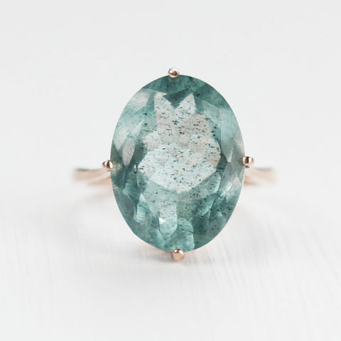 Mossy Aquamarine Cocktail Ring in Rose Gold