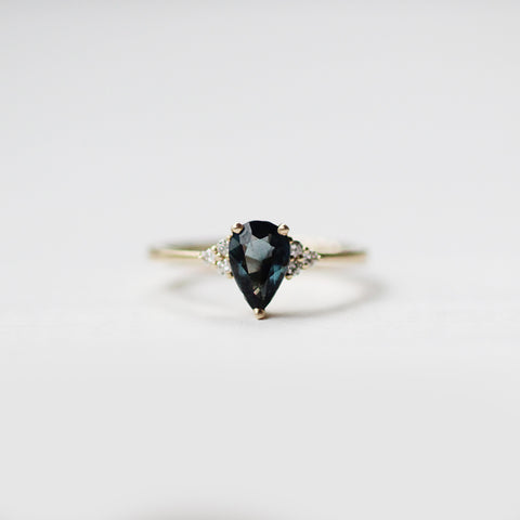Imogene with Deep Sea Blue Spinel and White Diamonds in 14k Yellow Gold - Ready to size and ship