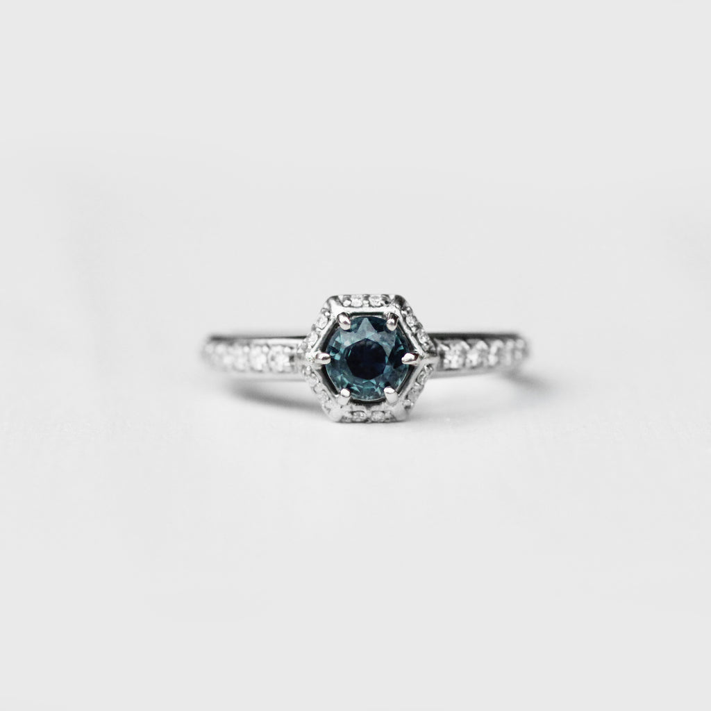 Adrien with teal blue brilliant round cut sapphire and accent diamonds in 10k white gold - size 5.5 ready to ship