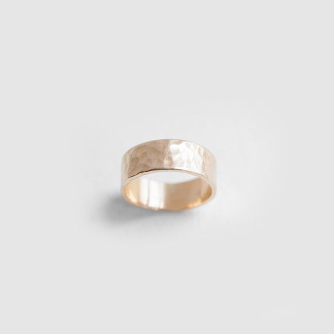 Hammered Wedding Band Ring - 2mm to 8mm Options - 14k Gold Wedding Band - Unisex - Many options