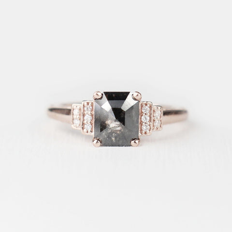 Isadora with a Dark Black Celestial Diamond and Clear Diamond Accents Ring - ready to size and ship