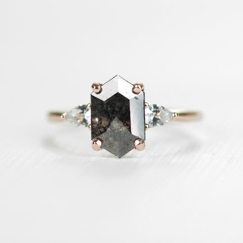 Oleander - Black Hexagon Celestial Diamond and White Sapphire Ring - Ready to size and ship