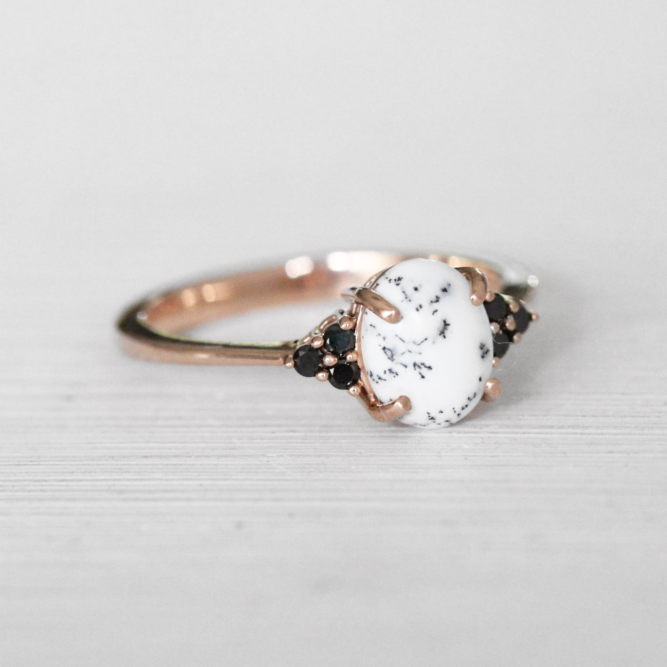 Imogene Ring with a Dendritic Opal and Black Diamonds in 14k Rose Gold - Ready to Size and Ship - Celestial Diamonds ® by Midwinter Co.